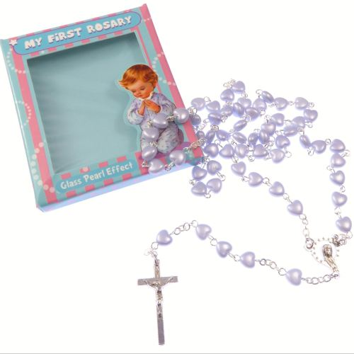 My 1st rosary childs boy white resin heart small rosary beads fab Communion