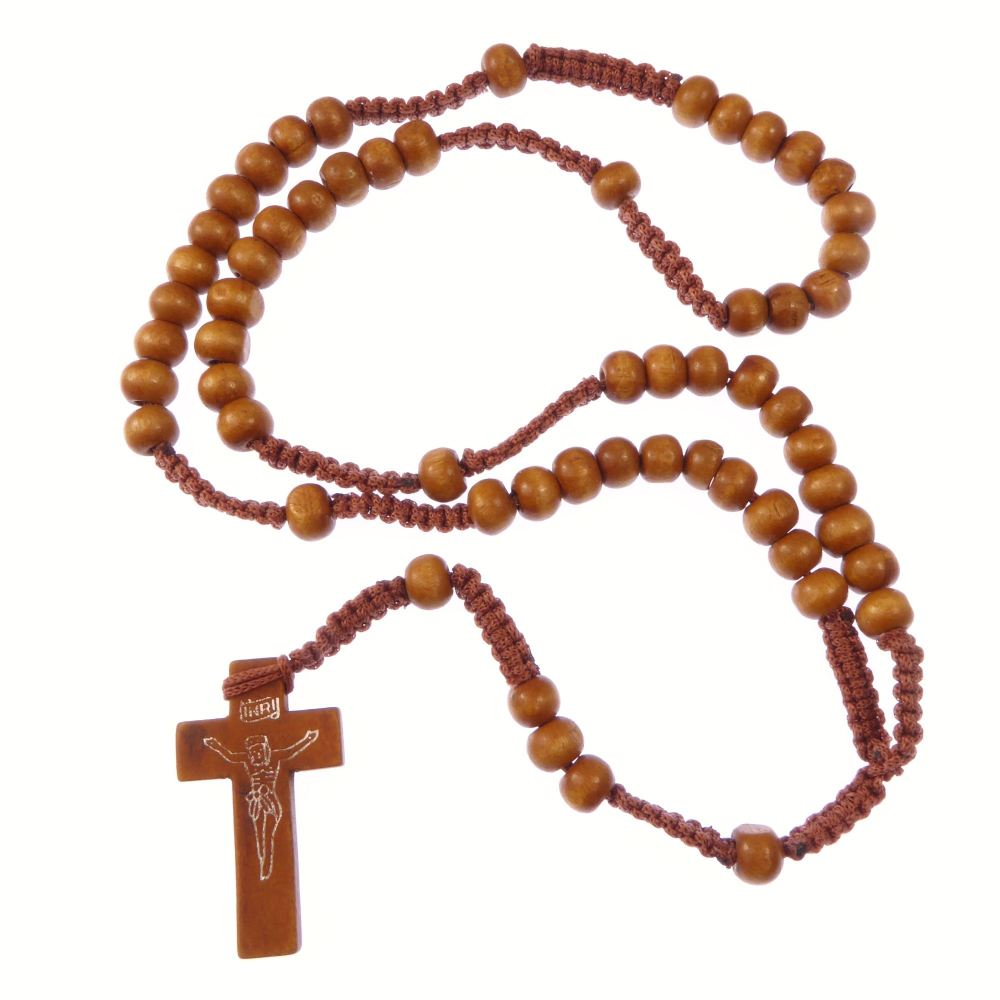 Wooden light brown long cord rosary beads necklace