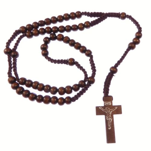 Wooden dark brown long cord rosary beads necklace