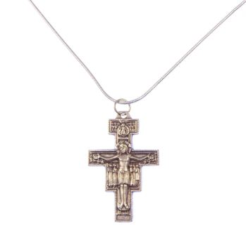 Silver plated San Damiano Francis Assisi crucifix cross necklace