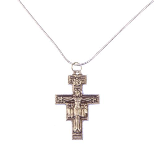 Silver plated San Damiano crucifix cross necklace