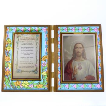 Stained glass double frame with Consecration to the Sacred Heart & image 18cm