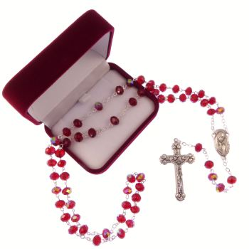 Long bright red iridescent glass rosary beads our lady center Catholic in box