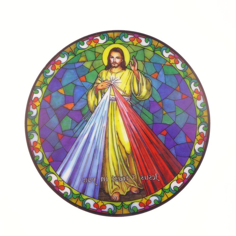Divine Mercy suncatcher stained glass window sticker reusable 6 inch
