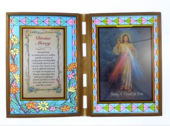 Stained glass double frame with prayer and Divine Mercy image 18cm