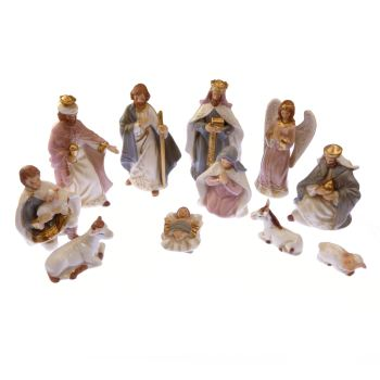 "Beautiful glazed porcelain Christmas Nativity set scene 11 figures 5"" 12cm"