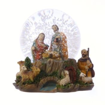 Christmas Nativity scene snow globe gift waterball Holy Family Jesus sheep 10cm
