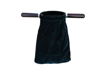 "Dark green velvet church offering bag 14"" (35cm) long with wooden handles Communion Tithe"