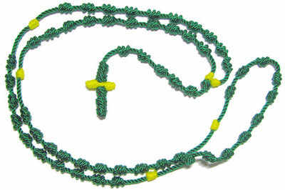 Cord knotted St. Jude rosary beads necklace in green