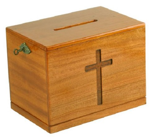Wood wooden church offering box donation collection with lock and key 10
