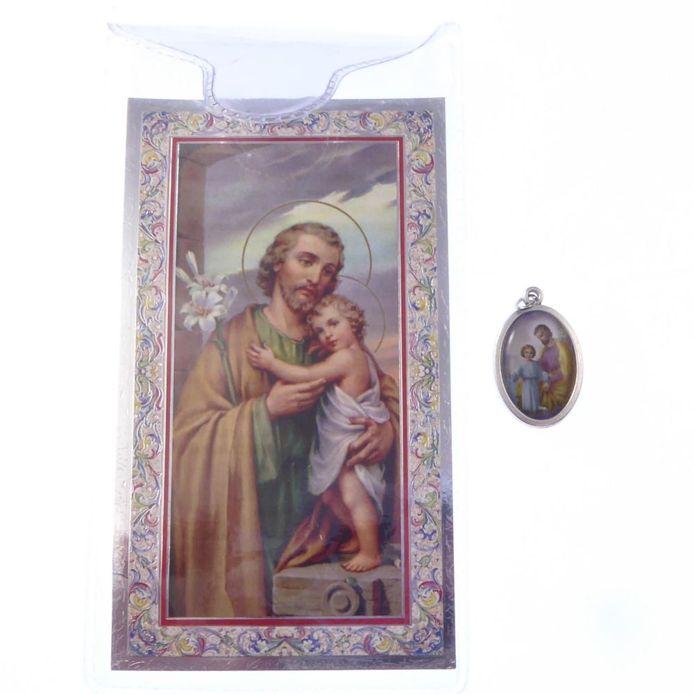 Catholic silver colour metal 2.5cm St. Joseph medal pendant and prayer