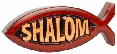 Plaque made of solid wood an carbed Shalom in Jesus fish