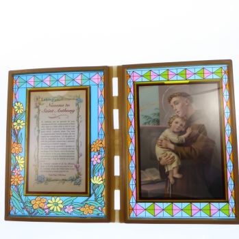 Stained glass double frame with Novena to St. Anthony and image 18cm