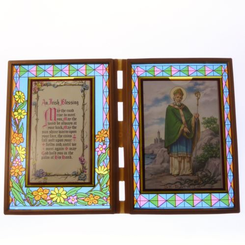 Stained glass double frame with Irish Blessing and St. Patrick image 18cm