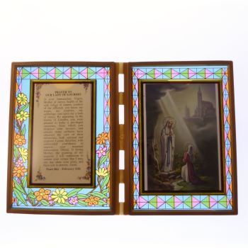 Stained glass double frame plaque with Prayer to Our Lady of Lourdes and image 18cm