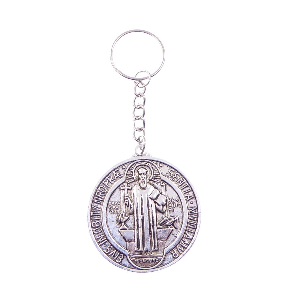 Silver round metal medal Saint St. Benedict keyring Catholic 4.5cm diameter
