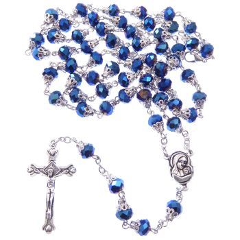Dark blue petrol effect iridescent faceted glass rosary beads filigree caps