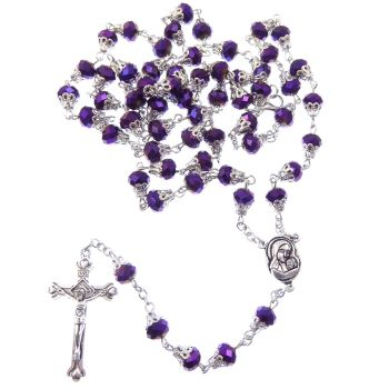 Dark purple petrol effect iridescent faceted glass rosary beads filigree caps