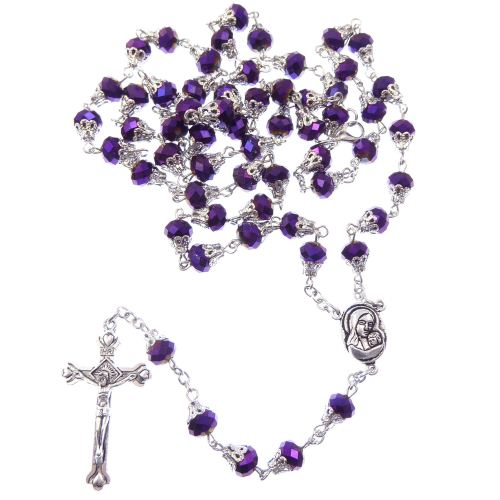 Dark purple petrol effect iridescent faceted glass rosary beads filigree ca