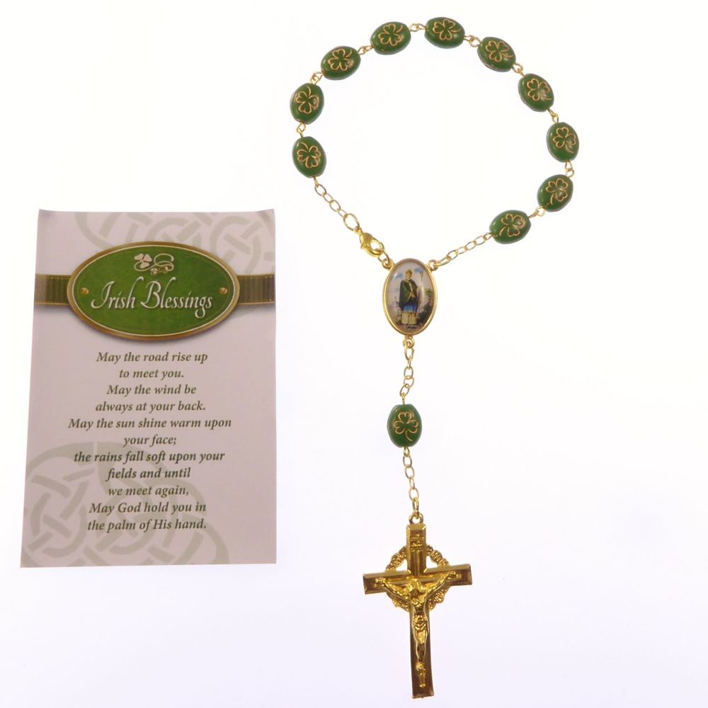Gold colour metal green shamrock one decade rosary beads bracelet Irish Ble