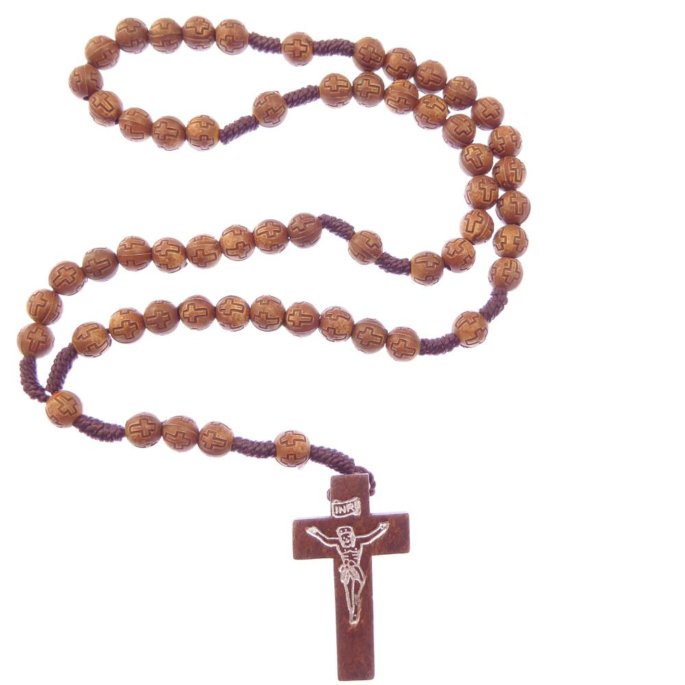 Small carved cross brown round wood 8mm cord rosary beads hand held prayer
