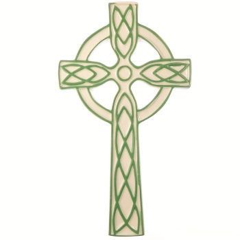 "Ceramic white green celtic wall hanging cross 8"" (19cm) gift Irish ornament"