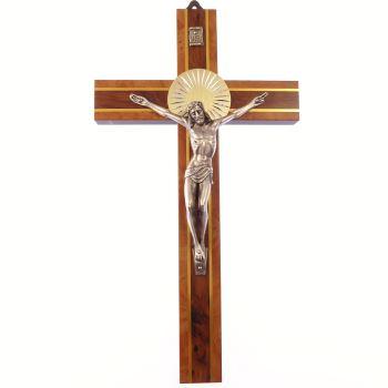 "Two tone wood wall hanging corpus cross 8"" (20cm) gift metal wooden crucifix"