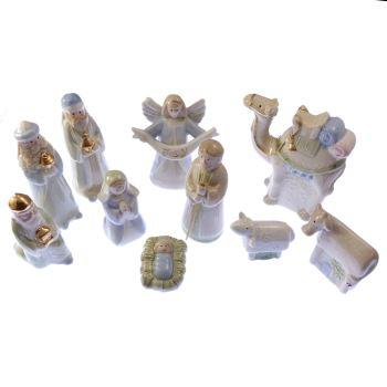 """Children's fun glazed porcelain Christmas Nativity set scene 10 figures 4"""" 10cm"""