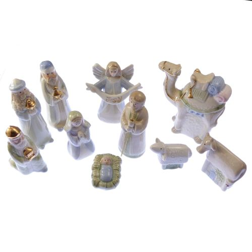Children's fun glazed porcelain Christmas Nativity set scene 10 figures 4