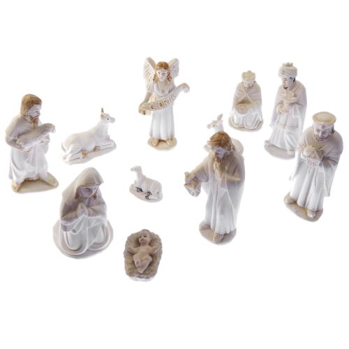 11 figure Christmas Nativity scene ornament porcelain style resin 3.5