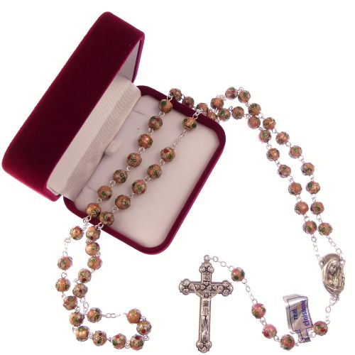 Catholic large pink cloisonne rosary beads silver colour chain + crucifix i
