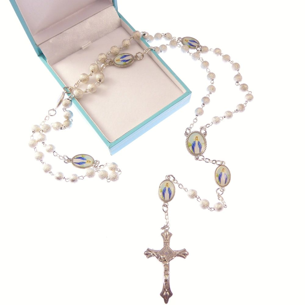 Silver Miraculous rosary beads Catholic gift + box Our Lady paters Catholic