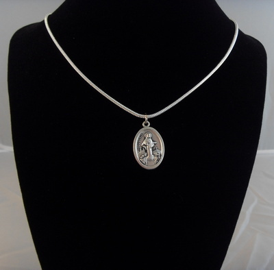 Our Lady of Medjugorje medal silver plated necklace