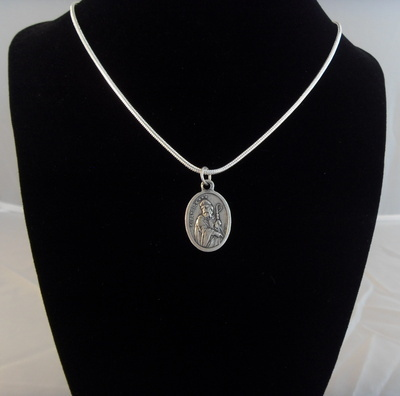 St. Patrick medal pendant silver plated necklace
