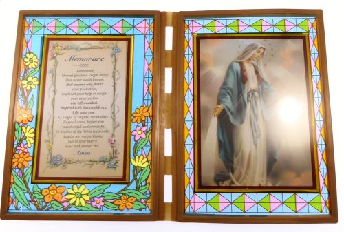 Stained glass double frame with Memorare to Our Lady Miraculous image