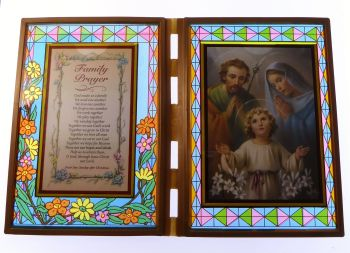 Stained glass double frame with Family prayer & Holy Family image