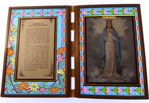 Stained glass double frame with Prayer to Our Lady of Knock & image