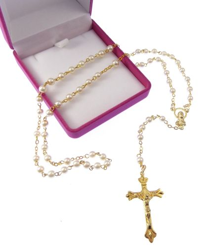 Imitiation pearl round small rosary beads in velvet box Catholic Our Lady g