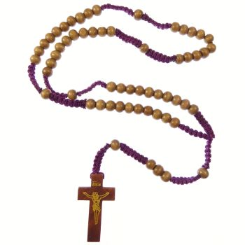 Brown wood rosary beads on purple cord with 5 decade Catholic rosary