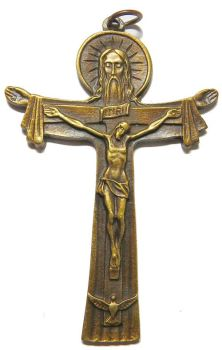 Antique brass effect Tertium Millennium Crucifix pendant 7.5cm Trinity cross
