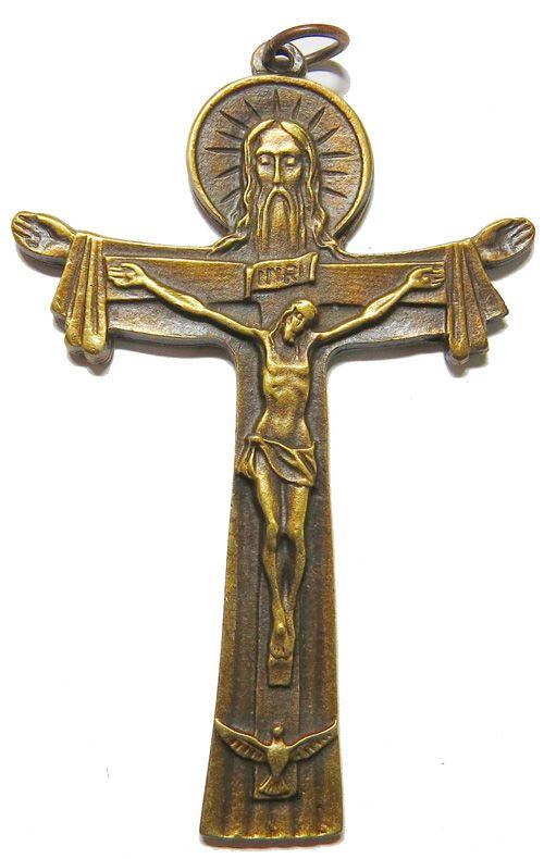 Antique brass effect Tertium Millennium Crucifix pendant 7.5cm Trinity cros