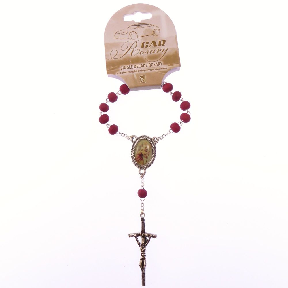 Silver chain scented red wood single decade pocket car rosary beads St. Chr