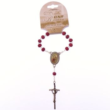 Silver chain scented red wood single decade pocket car rosary beads St. Christopher