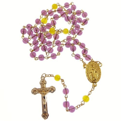 Catholic Miraculous dark purple yellow glass rosary beads gold chain 50cm l