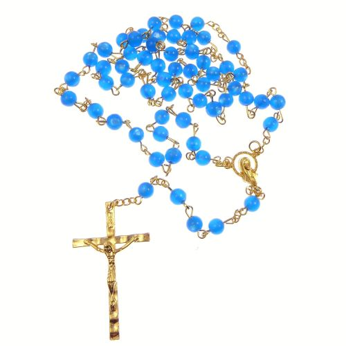 Catholic Twin Hearts Our Lady blue plastic rosary beads gold chain 51cm len