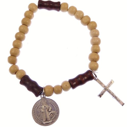 Small Light brown wood Catholic St. Benedict stretch bracelet + silver cruc
