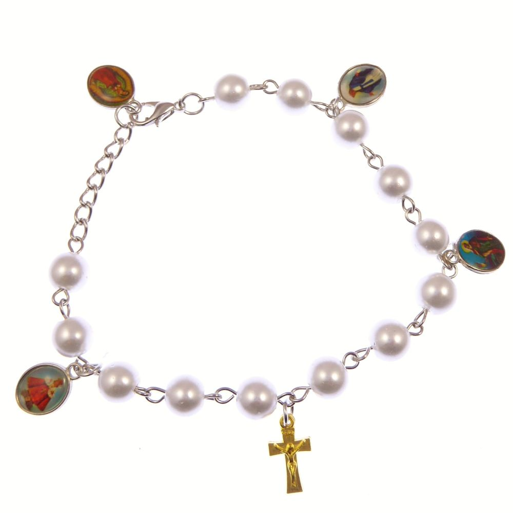 Catholic white pearly mixed Saints and crucifix bracelet + clasp Miraculous