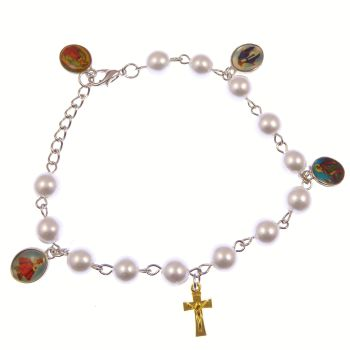 Catholic white pearly mixed Saints and crucifix bracelet + clasp Miraculous
