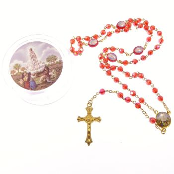 Red iridescent Our Lady of Fatima rosary beads in gift box with 6mm beads ?
