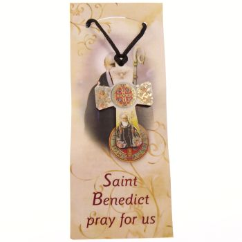 "2"" Wood colour cross St. Benedict cord necklace + Prayer Catholic pendant gift"